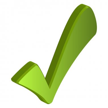 Green three dimensional checkmark