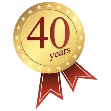 Gold jubilee button - 40 years