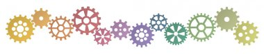 colored gears row for cooperation symbolism