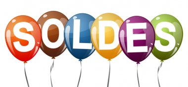 colored balloons with text SOLDES