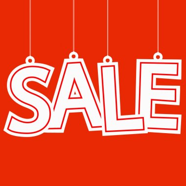 Sale hangtag on red background