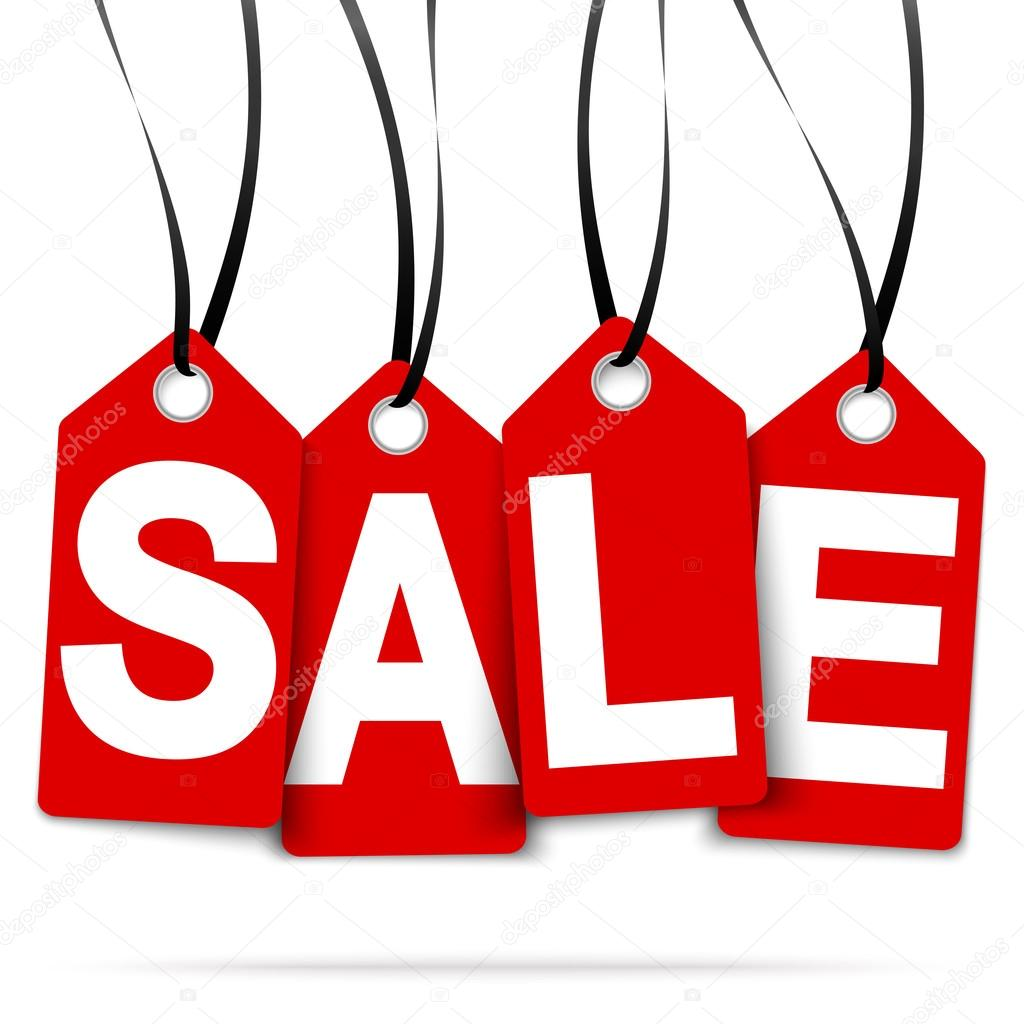 four hangtags with SALE