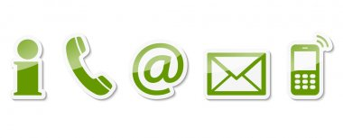 Contact Us, set of green colored icons with white frame and reflection stock vector
