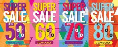 Modern Banner Super Sale Up to 80 Percent 6250x2500 Pixel Vector