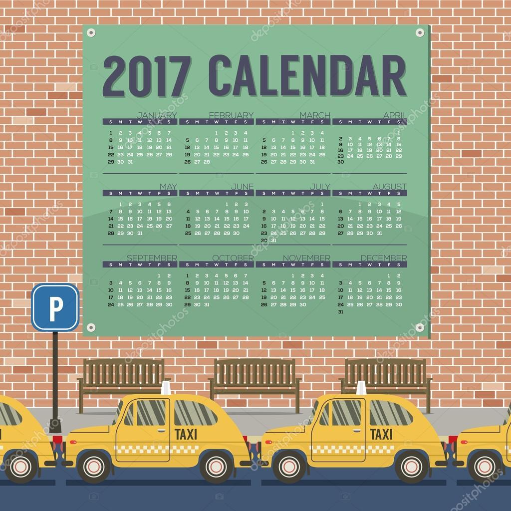 2017 imprimible calendario comienza Domingo Taxi autos Parque ...
