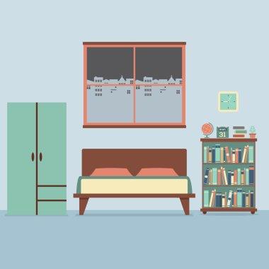 Flat Design Bedroom Interior Vector Illustration