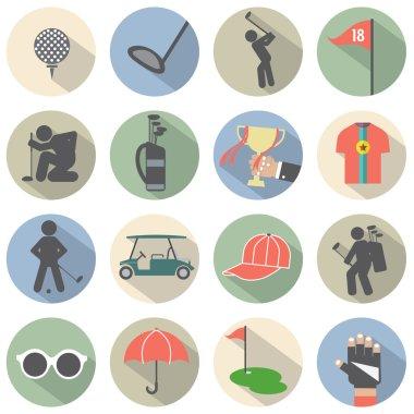 Modern Flat Design Golf Icon Set Vector Illustration