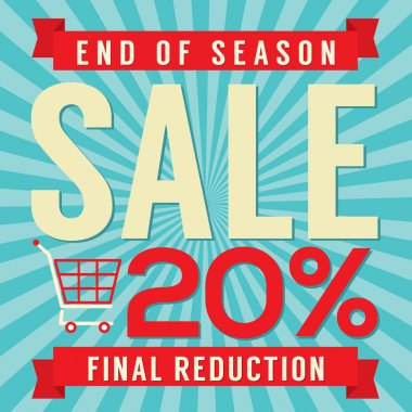 20 Percent End of Season Sale Vector Illustration
