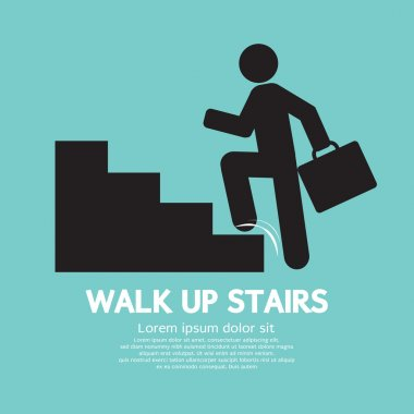 Walk Up Stairs Symbol Vector Illustration
