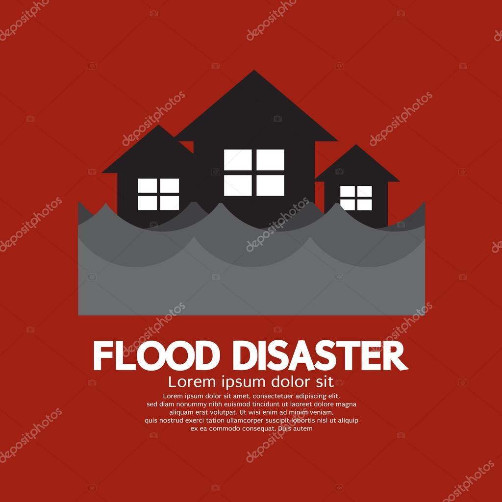 Building Soaking Under Flood Disaster Vector Illustration