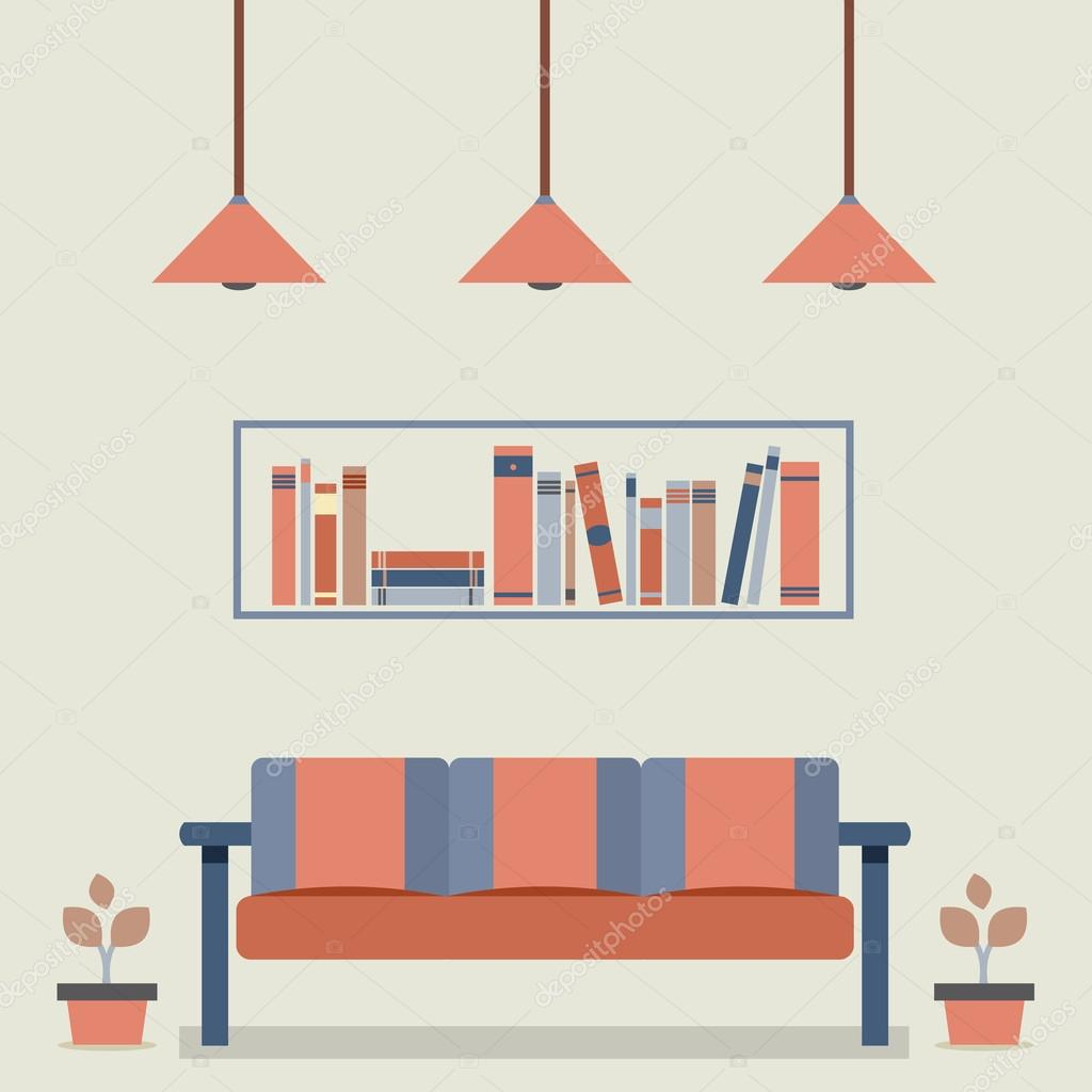 Flat design interior vintage sofa and bookshelf stock for Interior design images vector