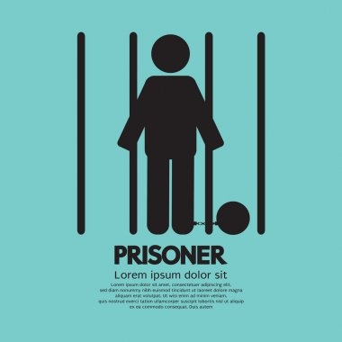 Prisoner In Jail Symbol Vector Illustration