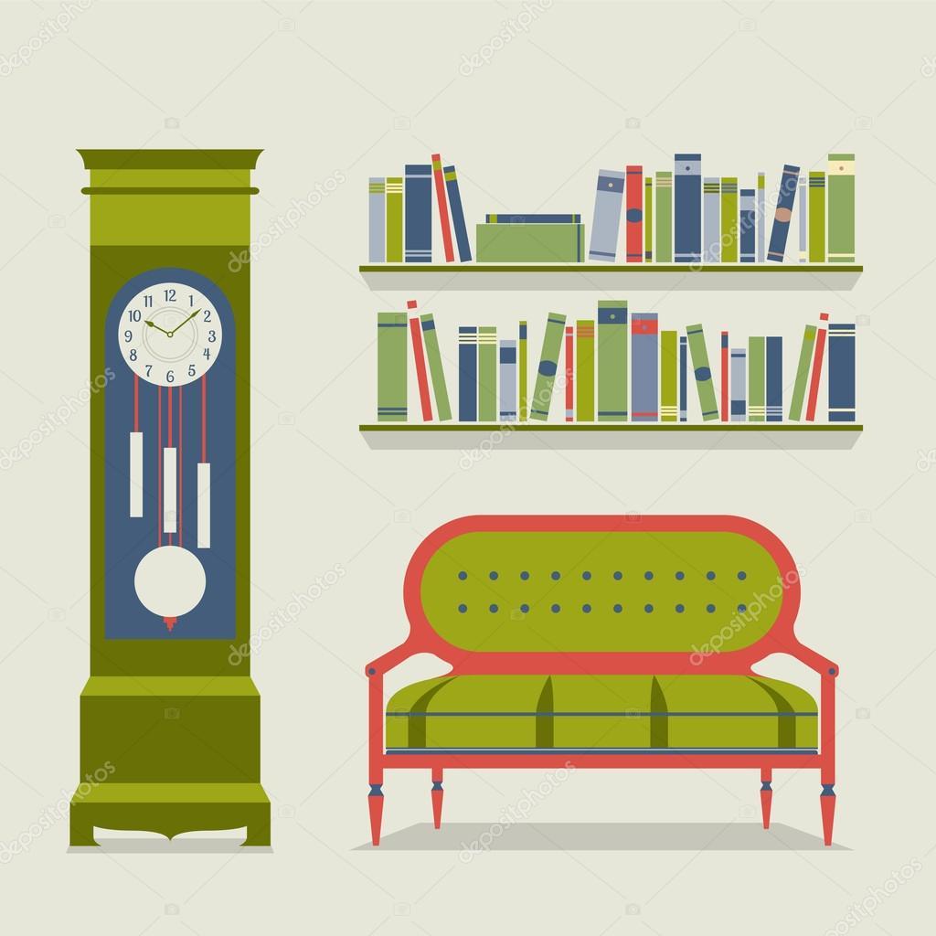 Ilustraci n de vector de dise o de interiores living for Diseno de interiores living comedor
