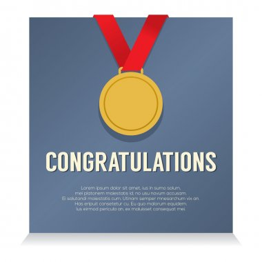 Golden Medal With Congratulations Card vector illustration