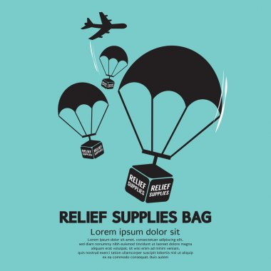 Relief Supplies Bag With Parachutes Vector Illustration