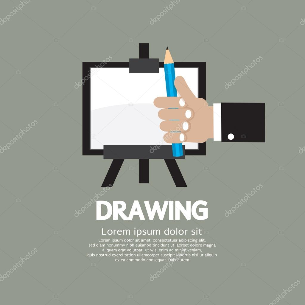 Drawing On Easel With Pencil Vector Illustration