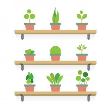 Pot Plants Gardening Concept Vector Illustration