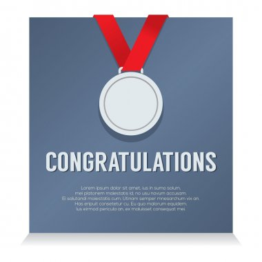 Silver Medal With Congratulations Card vector illustration
