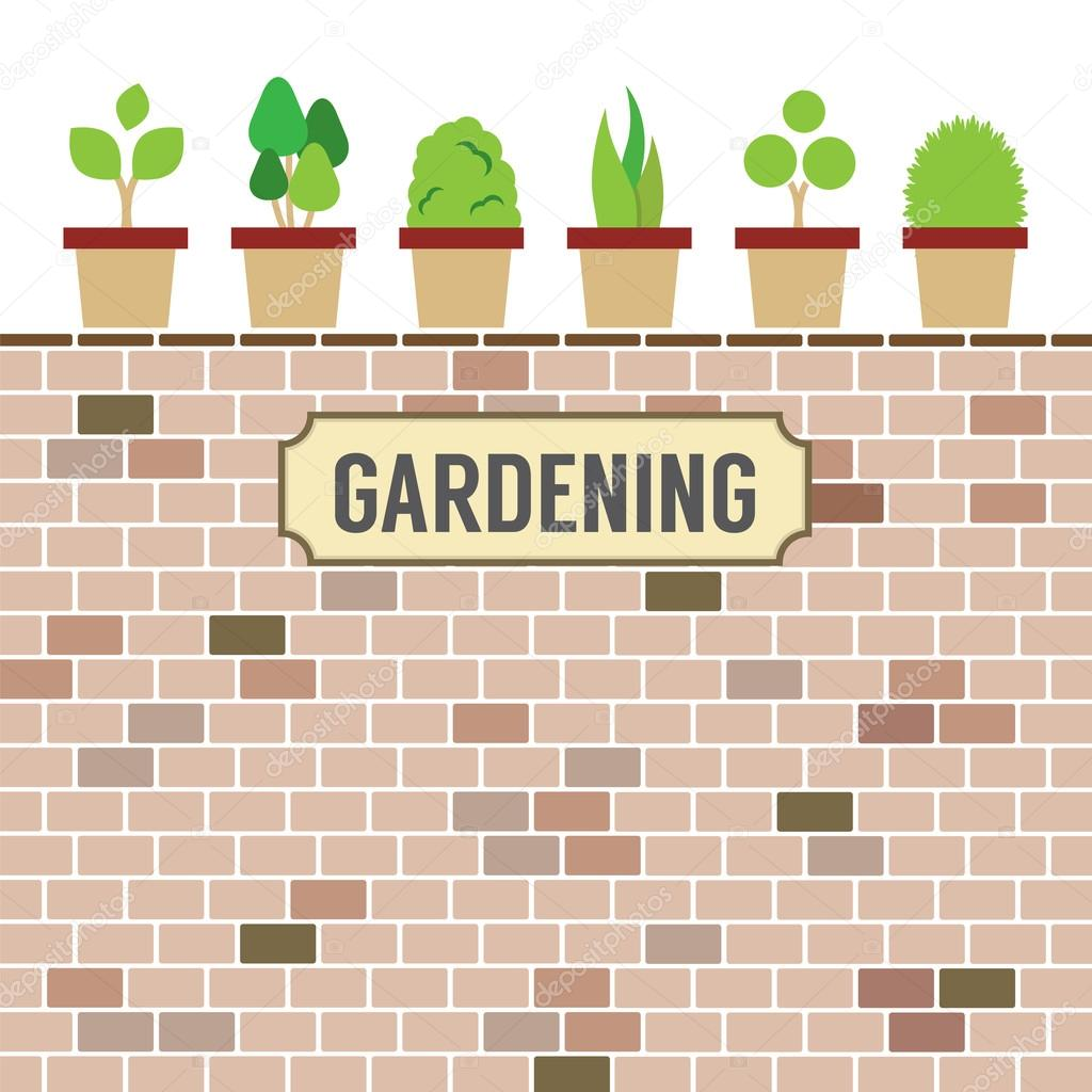 Pot Plants On Brick Wall Gardening Concept Vector Illustration