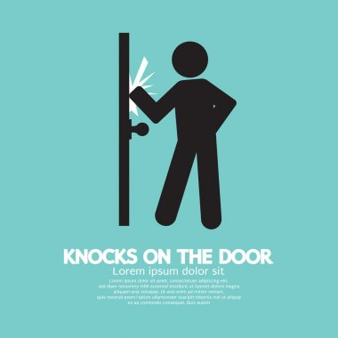 Graphic Of Single Man Knocks on The Door Vector Illustration