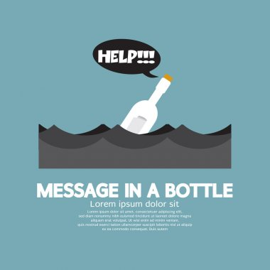 Message in a Bottle Floating In The Sea Vector Illustration