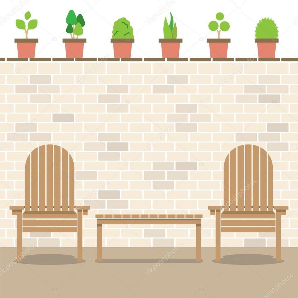 Wooden Garden Chairs With Table And Pot Plants Above Bricks Wall