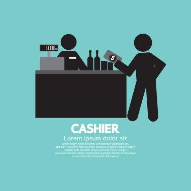 Cashier With Customer Graphic Symbol Vector Illustration