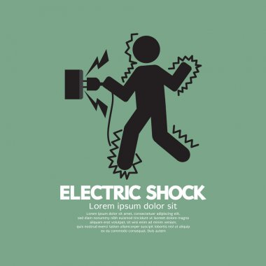 Graphic Symbol Of A Man Get An Electric Shock Vector Illustratio