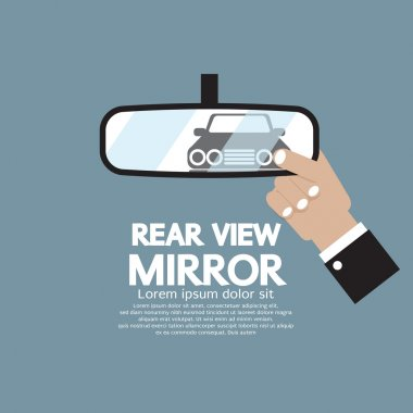 Car's Reflection In Rear View Mirror Vector Illustration