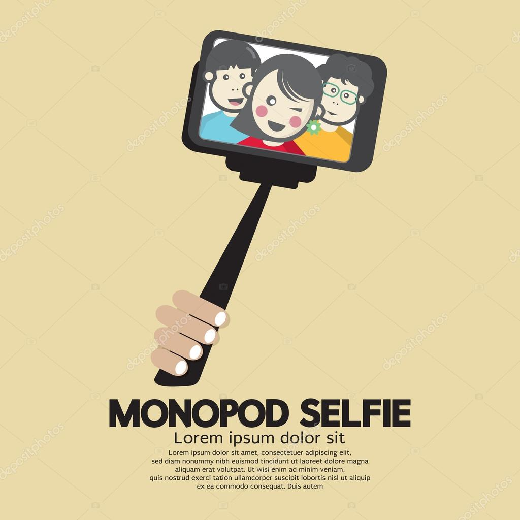 Monopod Selfie Self Portrait Tool For Smartphone Vector Illustra