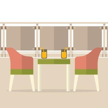 Empty Dinner Interior At Balcony Vector Illustration