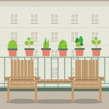 Empty Garden Chairs At Balcony Vector Illustration