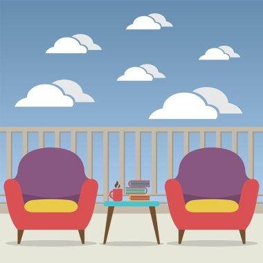 Empty Sofa Interior Set At Balcony Vector Illustration