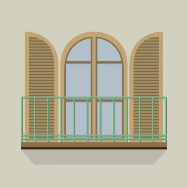 Open Door With Balcony Vintage Style Vector Illustration