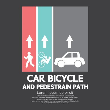 Car, Bicycle and Pedestrian Path Vector Illustration