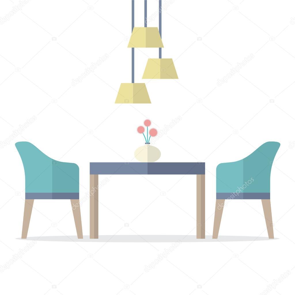 Wonderful Flat Design Interior Dining Room Vector Illustration U2014 Stock Vector