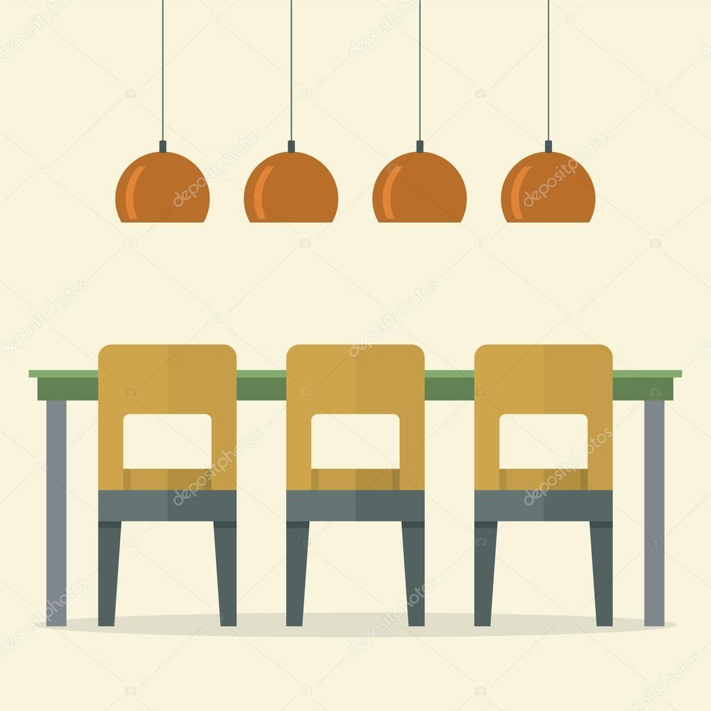 Superior Flat Design Interior Dining Room Vector Illustration U2014 Stock Vector