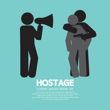 Robbery, Hostage And Policeman Graphic Symbol Vector Illustratio