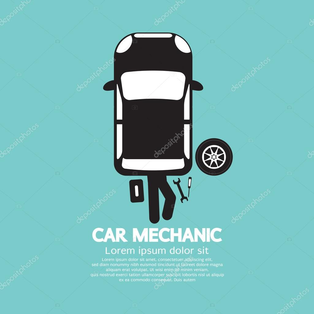 Car Mechanic Repairing Under Automobile Vector Illustration