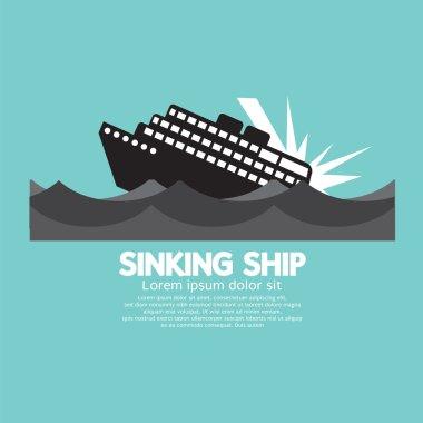 Sinking Ship Black Graphic Vector Illustration
