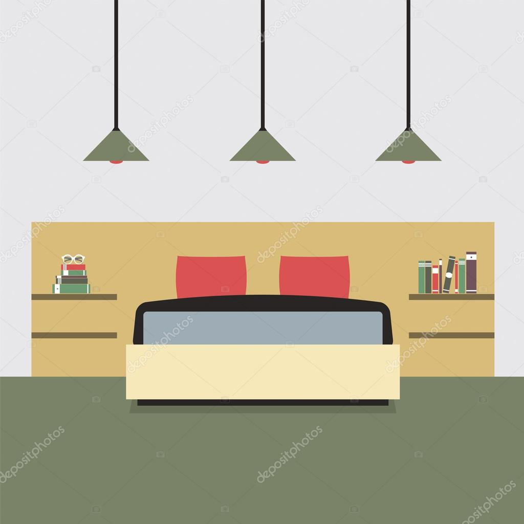 Design plat chambre double vector illustration image for Chambre flat design