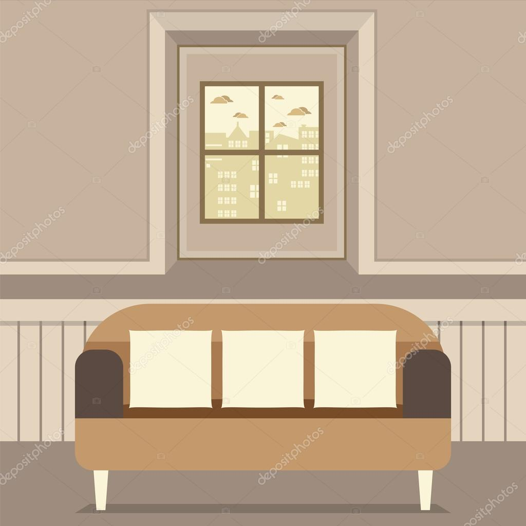 Leere Braune Couch Vor Fenster Vektor Illustration U2014 Stockvektor