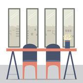 Plochý Design prázdné židle a stůl vektorové ilustrace
