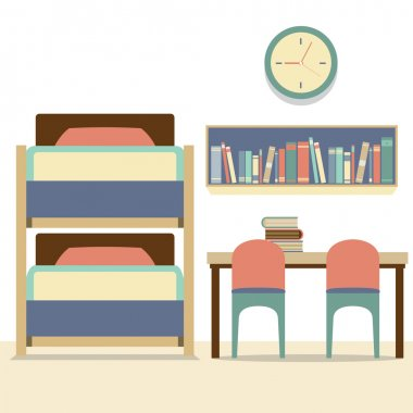 Empty Bunk Bed With Table And Chairs Vector Illustration