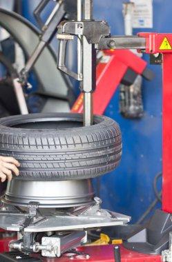 Tire Fitting Machine Close Up