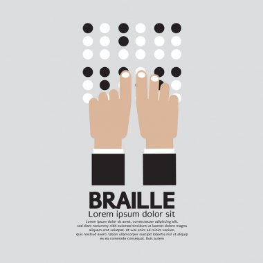 Braille Language Reading By The Blind Vector Illustration