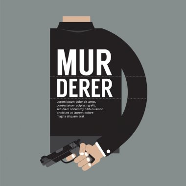 Gun In Murderer's Hand Vector Illustration
