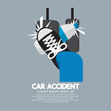 Water Bottle Cause Car Accident Vector Illustration