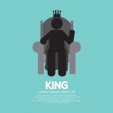 The King With His Throne Vector Illustration