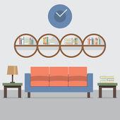 Pohovka s moderní knihovna vektorové ilustrace